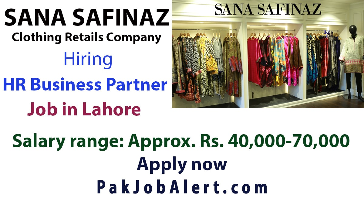 HR Business Partner Job in Sana Safinaz | Jobs in Lahore 2020
