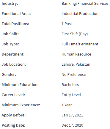 HR Executive Job Details