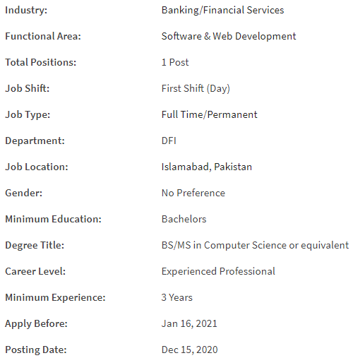 First MicroFinance Bank Job Details
