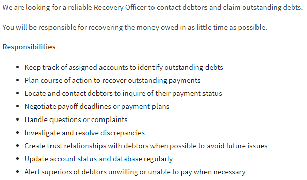 Job Description of Recovery Officer