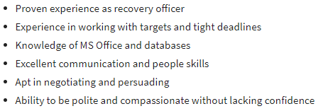 Requirements for Recovery Officer