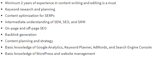 Required Skills for SEO Specialist