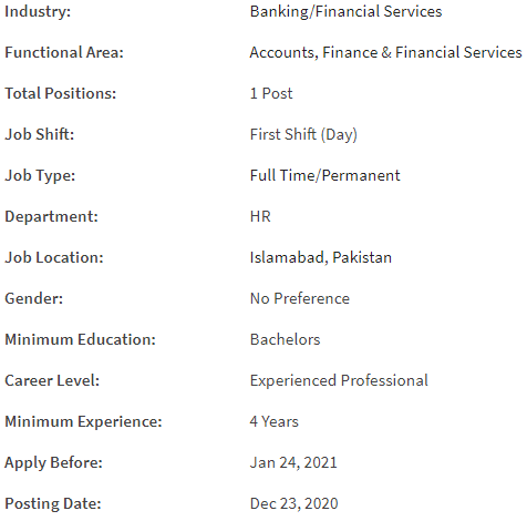 Assistant Manager Payroll Job Details