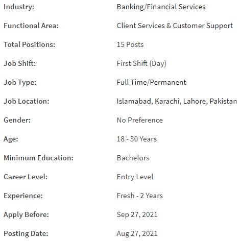 HBL Jobs 2021 for customer services officer